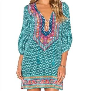 Other - Blue Bohemian Print Summer Shift Dress / Cover up